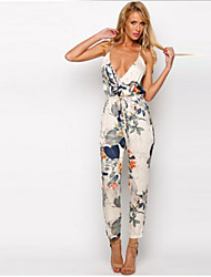 Women's Sexy/Beach/Casual/Print/Cute/Party V-Neck Sleeveless Jumpsuit