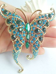 Women Accessories Gold-tone Turquoise Green Rhinestone Crystal Butterfly Brooch Art Deco Crystal Brooch