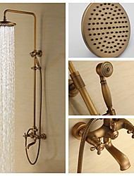8 Inch Antique Brass Wall Mounted Two Handle Shower Set with Shower Head and Hand Shower