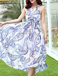 Women's Beach/Maxi Micro-elastic Sleeveless Maxi Dress (Chiffon)