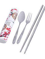 Portable Stainless Steel Travelling Fork + Chopsticks + Spoon Kit - Silver