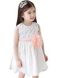Children Kids Girls with Big Flower Sleeveless Tulle Sundress Dress Clothes