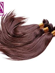 """3pcs / lot 12 """"-30"""" sedosos extensiones de cabello humano brasileño marrón chocolate de pelo virginal recto pelo teje"""