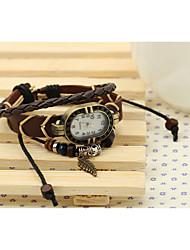 lureme® EuropeStyle ретро кожи ткать оставляет сплава часы браслет