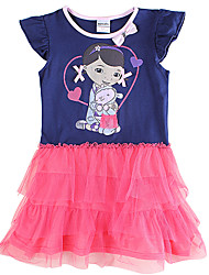 Girl's Cartoon Dress  Doc McStuffins Printing Tutu Skirt Children Dresses(Random Printed)