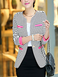 Women's Spring Blazer,Striped Long Sleeve Blue / Red Others Medium