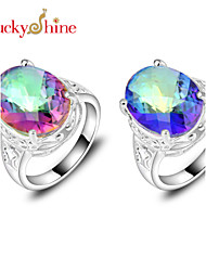 Lucky Shine Women's Men's Unisex Silver Holiday Gift Fire Rainbow Mystic Topaz Crystal Gemstone Wedding Rings