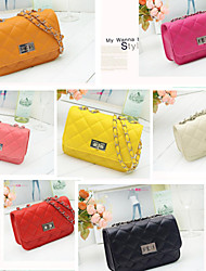 Woman Leather Shoulder Bag Messenger  Packet  New  Square Lattice Embroider Line Section Chain Multicolor Freeshipping