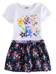 Girl's White Dress Floral Skirt Children Dresses(Random Printed)