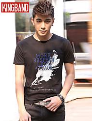 Men's Casual/Sport Print Short Sleeve Regular T-Shirts (Cotton Blends) KB6A10