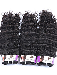 "3Pcs/Lot+10""-30""+Peruvian (Italian)Virgin Remy Human Hair+ color(natural black)+ Deep wave"