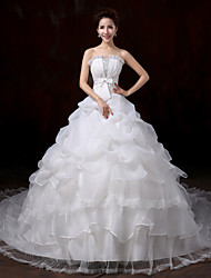 Ball Gown Wedding Dress - White Court Train Strapless Lace