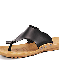 Men's Shoes Casual Leather Sandals Black/Orange