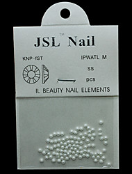 Pearl2mm 100pcs/lot 2mm Pricess White Color Half Round Pearls Imported Pearls Nail Art Rhinestone & Decoration
