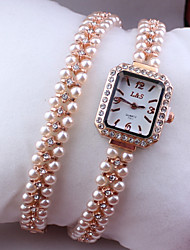 Femme Montre Tendance Quartz Bande Perles / Bracelet Marque-