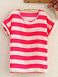 Women's Round T-Shirts , Chiffon Casual/Cute Short Sleeve SASA