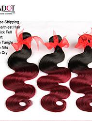 """8 """"-28"""" 4pcs 2 dos tonos tejidos de pelo pelo de la onda del cuerpo 1b / 99 humano virginal brasileño cuerpo onda del pelo"""