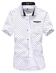 Men's Print Casual / Work / Formal / Sport / Plus Sizes Shirt,Cotton / Polyester Short Sleeve Blue / White