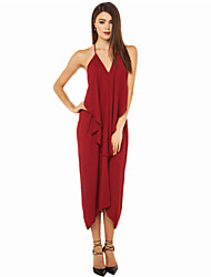 Women's Party Solid Loose Dress , Halter Maxi Cotton