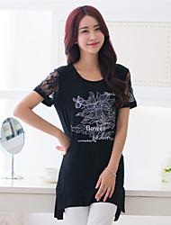 Ronde hals - Katoen - Kant - Vrouwen - T-shirt - Korte mouw