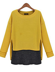 Women's Blue/Yellow/Gray Blouse , Casual Round Neck Long Sleeve