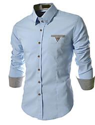 Men's Casual/Work/Formal Plaids & Checks/Pure Long Sleeve Regular Shirt