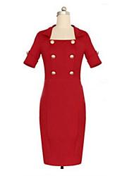 vrouwen vintage vierkante hals jurk, polyester / katoen mengsels rode partij