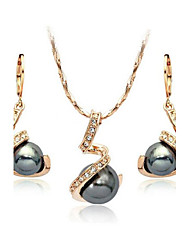 HKTC Mother's Day Gift 18k Rose Gold Plated Crystal Gray Simulated Pearl Earrings and Necklace Set