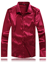Men's Casual/Work/Formal/Plus Sizes High Quality Silk Pure Long Sleeve Regular Shirt (Microfiber)
