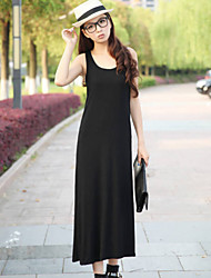 Women's Sexy/Casual Micro-Elastic Sleeveless Maxi Dress (Cotton Blends)