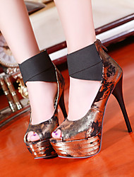 Women's Shoes Heel Heels / Peep Toe Sandals Outdoor / Office & Career / Casual Black / Blue / Gold/L16