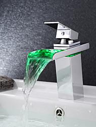 nouvelle cascade de RGB LED moderne chromé levier unique pas de robinets de robinet mélangeur de la batterie