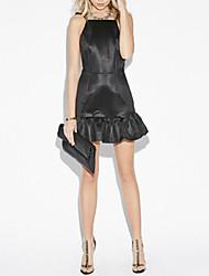 los mini vestidos de fiesta elegante volantes correa de espagueti sin respaldo inferior atractiva de las mujeres