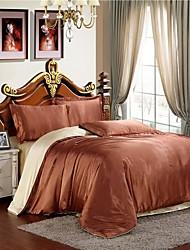 Mingjie café seda gelo e camelo lixar conjuntos de cama 4pcs define capa de edredão queen size e king size