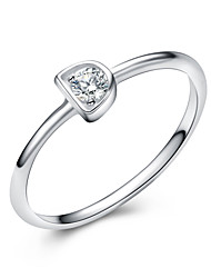 Jazlyn Authentic Platinum Plated 925 Sterling Silver D Shape Cubic Zirconia Couple Ring US7