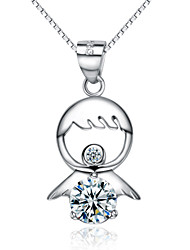 Jazlyn® Woman Platinum Plated 925 Sterling Silver Angel Fuwa Cubic Zirconia Necklace Pendant Christmas Gift
