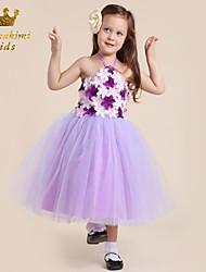 Girl Purple Grenadine Fairy Dress With Flower Holiday Dress