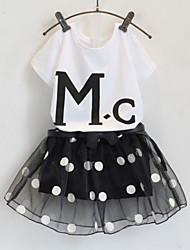 Girl's Letters Short Sleeve + Yarn Culottes Clothing Suit