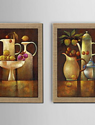 Oil Painting Decoration Still life Hand Painted Natural linen with Stretched Framed - Set of 2