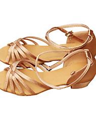 Customizable Kids' Dance Shoes Latin Satin Flat Heel Brown