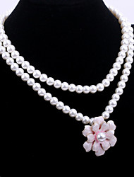 Fashion Women's Pearl Chain with Big Flower Pendant Alloy Long Necklace