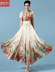 Muairen®Women'S Casual Fashion Floral Chiffon Dress