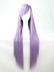 Lattichanimeperücke bunten Perücken Licht lila langen glatten Haaren Perücke 80 cm