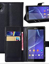litchi autour parenthèse ouverte téléphone en cuir carte de portefeuille approprié pour sony xperia z1 (de couleurs assorties)