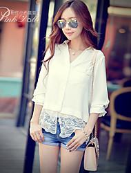 Mulheres Camisa Decote Quadrado Manga ¾ Renda Renda/Elastano/Poliéster Mulheres