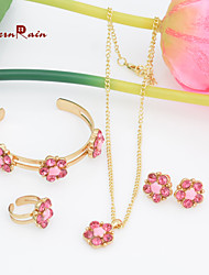WesternRain Lovely Pink Crystal Flower Children Necklace Kids Baby Costume Jewelr ,Fashion Girl Jewelry Free shipping