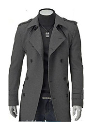 Men's Solid Casual Coat,Cotton / Tweed Long Sleeve-Black / Gray