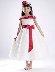 Flower Girl Dress Floor-length Silk A-line Sleeveless Dress