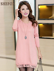 Women's Vintage/Casual/Work Micro-elastic Medium Long Sleeve Dress (Lace/Knitwear) SF7A16