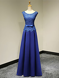 Formal Evening Dress A-line Scoop Floor-length Satin with Appliques